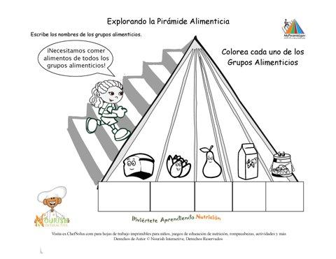 Imprimible colorea la pir mide alimenticia y nombra los grupos alimenticios ni a - Piramide alimenticia para ninos para colorear ...