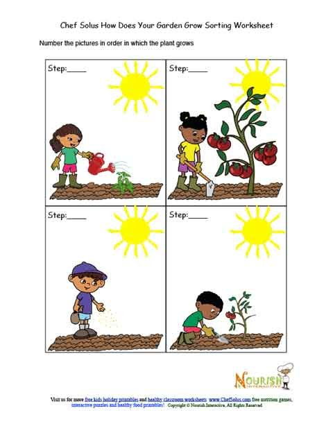 Kids garden chronological sorting activity worksheet for Gardening tools 94 game answers