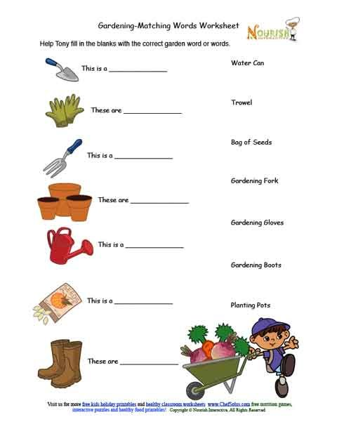Kids gardening tools matching activity sheet for Gardening tools vocabulary