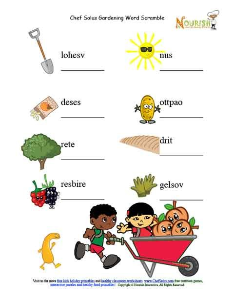 Garden picture unscramble word puzzle for Gardening tools vocabulary