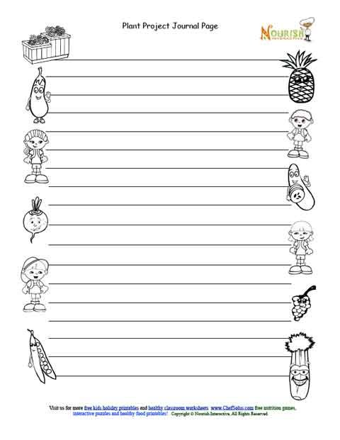 Kids Gardening Journal Entry Page Black and White Page