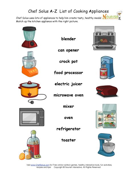 Find the kitchen appliance matching worksheet for Furniture quiz questions