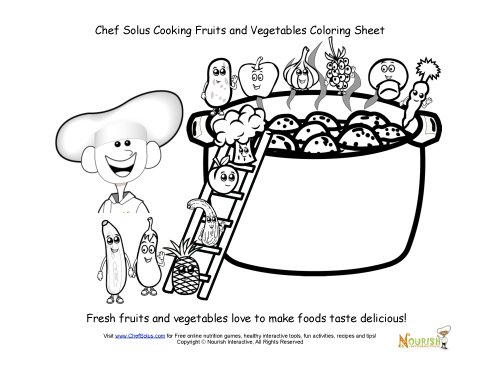 Chef Solus Cooking Fruits and Vegetables Coloring Sheet