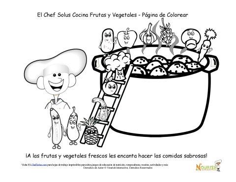 Hoja de Colorear del Chef Solus Cocinando Frutas y Vegetales