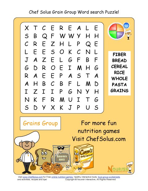 Printable Word Search Puzzle Grains Group