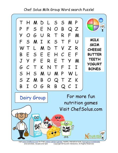 Printable - Word Search Puzzle - Milk Group
