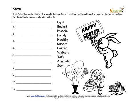 Holiday 5 Easter Alphabetize The Protein Worksheet