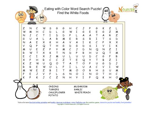 Rainbow Foods - Find The Healthy White Foods Word Search Puzzles
