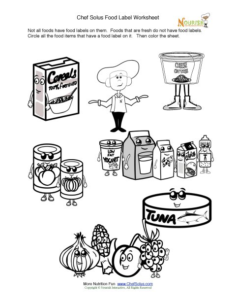 Printable Fun Food Label Activity