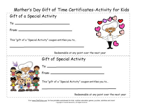 printable mother s day gift certificates colorful sheets. Black Bedroom Furniture Sets. Home Design Ideas
