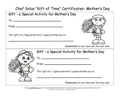 printable mother s day gift certificates coloring sheets