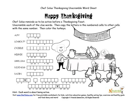 Holidays 11 Chef Solus Hidden Message Thanksgiving Word
