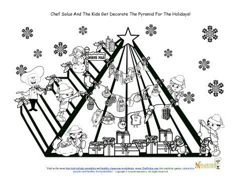 Holiday 12 Christmas Food Pyramid Kids Coloring Page