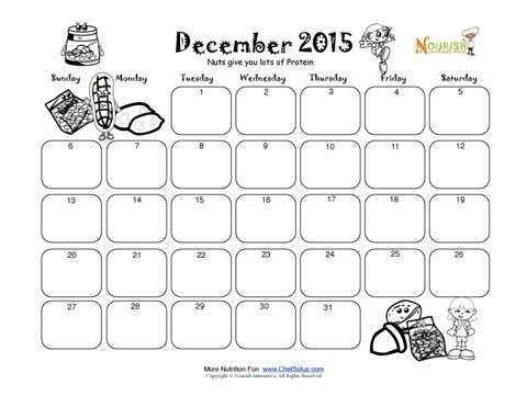 december healthy protein and nuts write and color calendar for kids