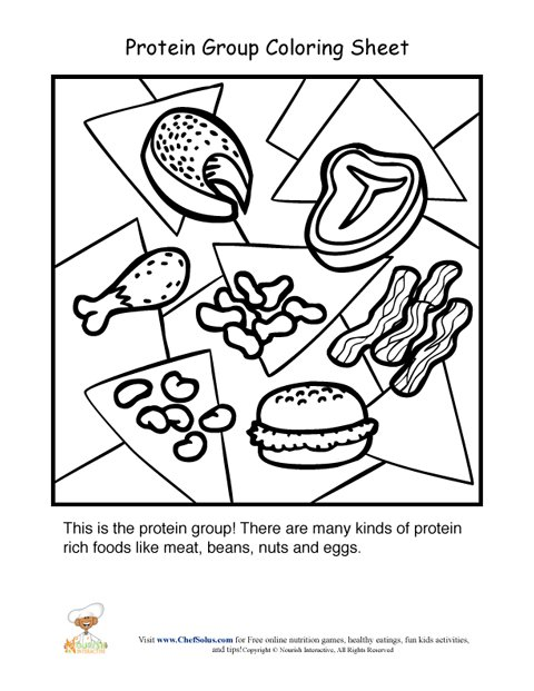 Protein Food Group Coloring Sheet