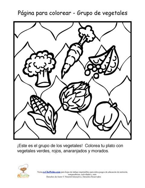 Hoja para colorear del grupo alimenticio de los vegetales - Alimentos ricos en fibra para ninos ...
