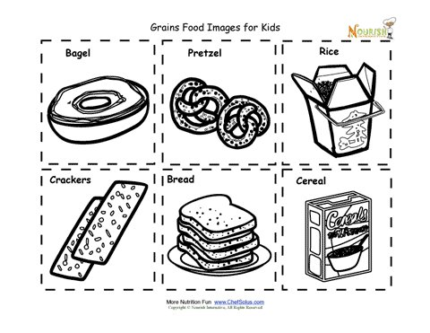 Grains Food Nutrition Flash Cards Cut Out Printable for Kids