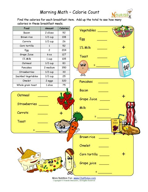 Worksheet Nutrition Worksheets For Kids calorie count math worksheet for elementary school children breakfast time