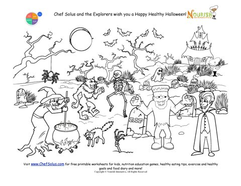 Halloween Coloring Page for Kids Graveyard and Monster Scene