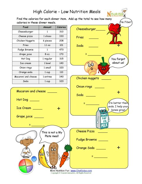 calorie count math worksheet for elementary school children high calorie dinner. Black Bedroom Furniture Sets. Home Design Ideas