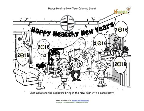 Holiday 1 New Years Dance Party with Chef Solus Coloring Sheet