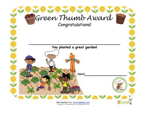 Gardening Green Thumb Award For Children