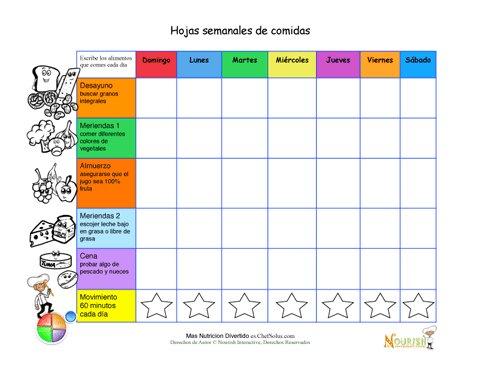 Imprimible diario semanal para escribir tus comidas for Dieta familiar y planificacion de menus diarios y semanales