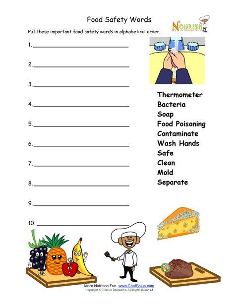 Food Safety Worksheet For Younger Children - Alphabetize Words