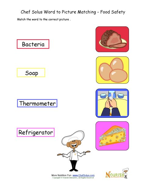 food safety matching words to picture activity worksheet for children. Black Bedroom Furniture Sets. Home Design Ideas