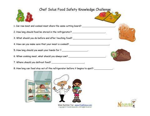 Food Safety - Test Your Knowledge Worksheet For Children