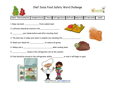 Food Safety Fill In The Blanks Worksheet For Elementary School ...