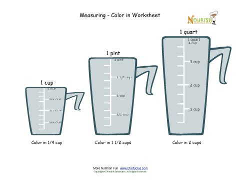 Printables Cooking Measurements Worksheet measuring and cooking for kids color in worksheet