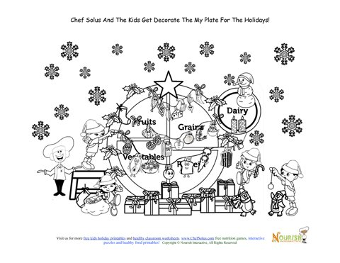 Holiday 12 Christmas My Plate Kids Coloring Page