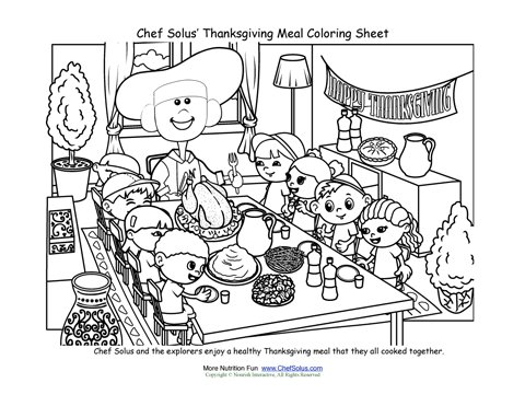 Chef Sols Thanksgiving Family Meal Coloring Page