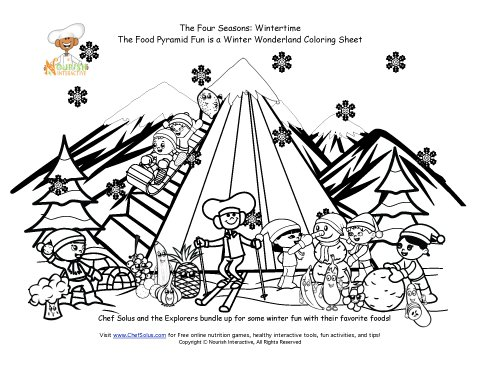 MyPyramid Winter Coloring Page
