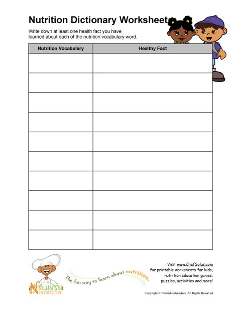 Worksheet Nutrition For Kids Worksheets printable nutrition vocabulary word and healthy facts worksheet