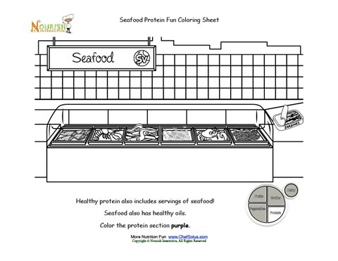 My Plate Protein Food Group: Seafood Grocery Store Coloring Sheet