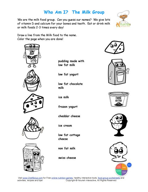 Printable - Match the Milk Names and Color the Milk Foods