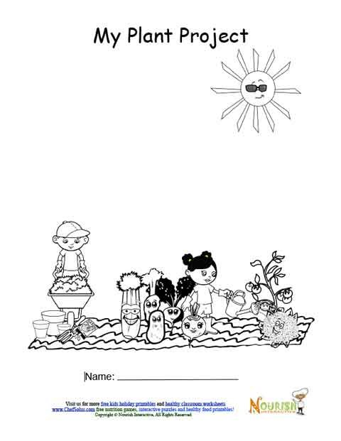 Kids Gardening Journal Cover Page Black And White