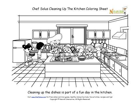 kitchen coloring pages chef solus cleaning up the kitchen coloring sheet 3385