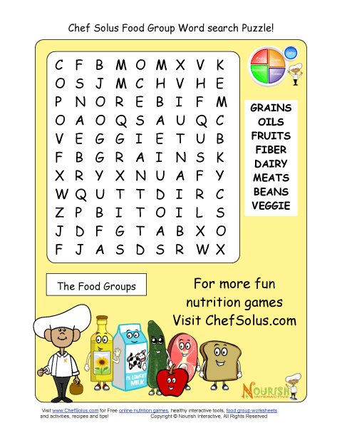 word healthy groups puzzles health printable eating puzzle nutrition games words worksheets heart foods snacks printables sheet cooking activities related