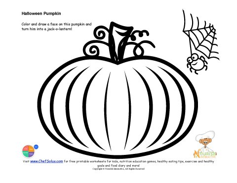 Kids' Jack-O-Lantern Drawing and Coloring Page