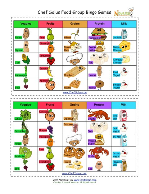 Bingo Food Groups Cards For Kids Five