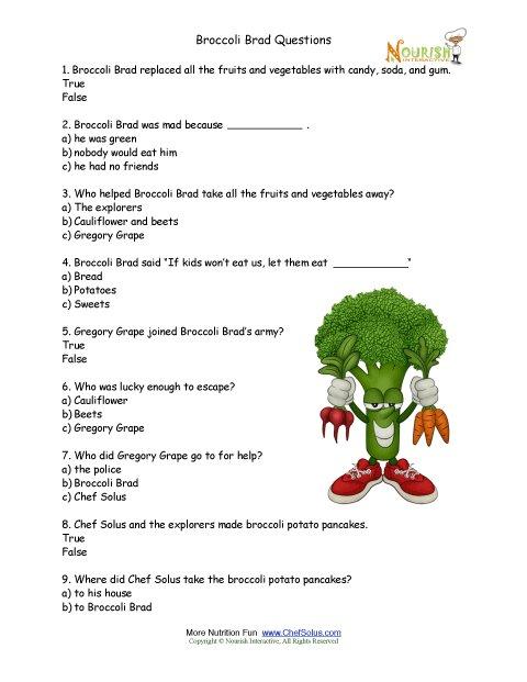 Broccoli Brad Multiple Choice Worksheet For Elementary