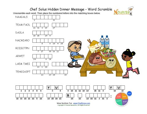 Kitchen Utensils Word Scramble Answers Cooking With Kids