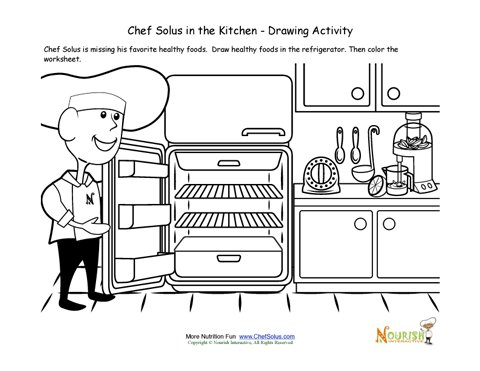 Cooking With Kids Drawing Activity And Coloring Page For