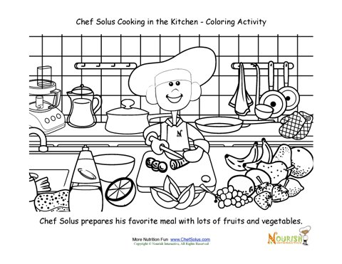 Cooking With Kids Chef Solus Chopping Vegetables Coloring Page