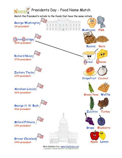 President S Day Matching Names Worksheet