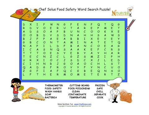 Food Safety Word Search Puzzle For Kids