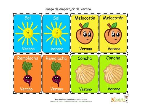 Juego De Cartas Para Ninos De Emparejar Alimentos Y Actividades De